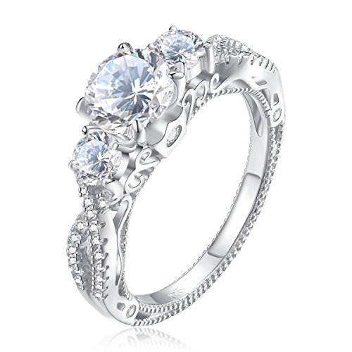 Newshe Three Stone Round Cut White Cz 925 Sterling Silver Wedding Engagement Ring Size 8 by Newshe Jewellery