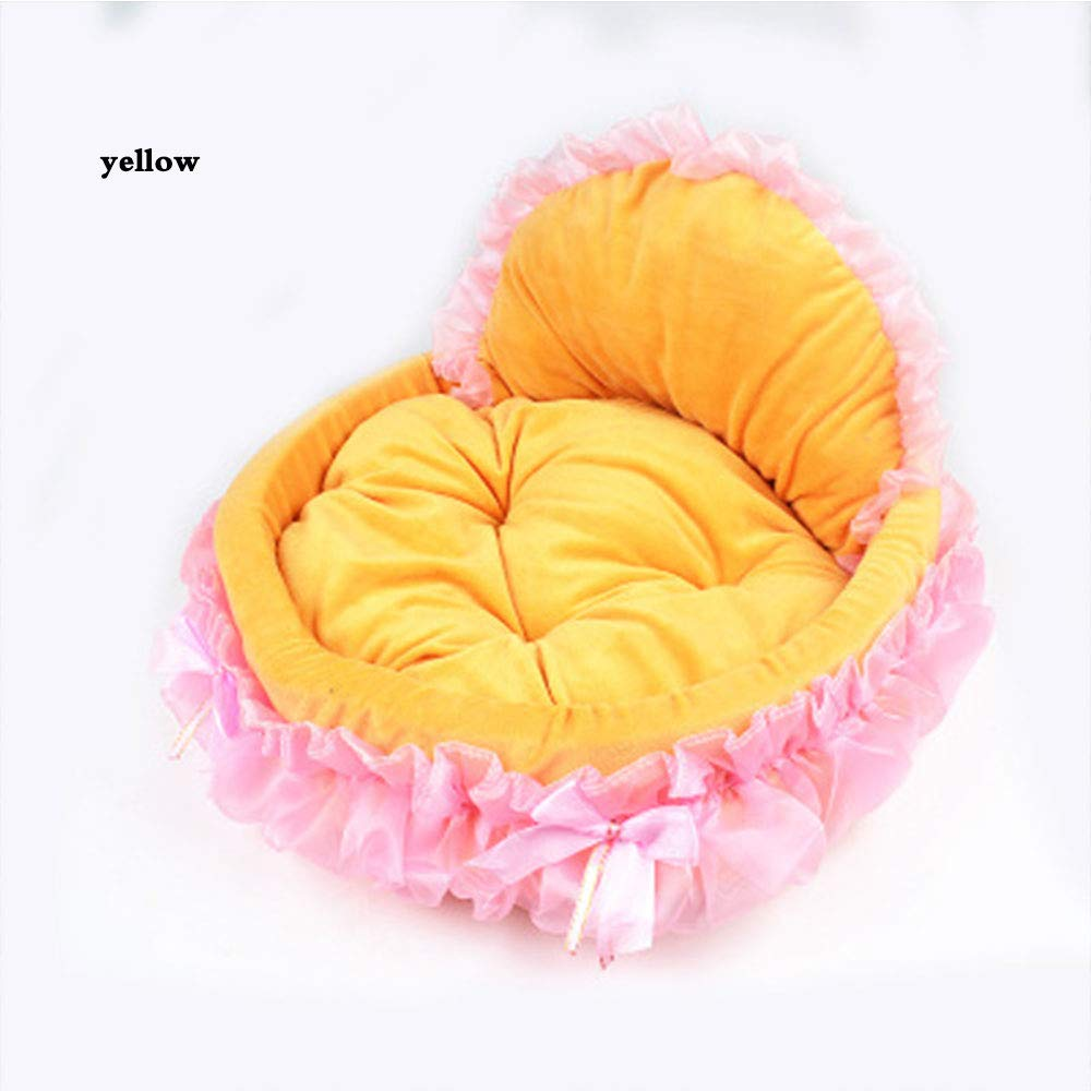 Yellow L Yellow L YONGYONG New Kennel Pet Bow Lace Princess Bed Oval Princess Nest Pet Kennel (color   Yellow, Size   L)