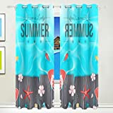 Vantaso Light Shading Window Curtains Lovely Summer Slippers On Wood Board Polyester 2 Pannels for Kids Girls Boys Bedroom Living Room 84 inch x 55 inch