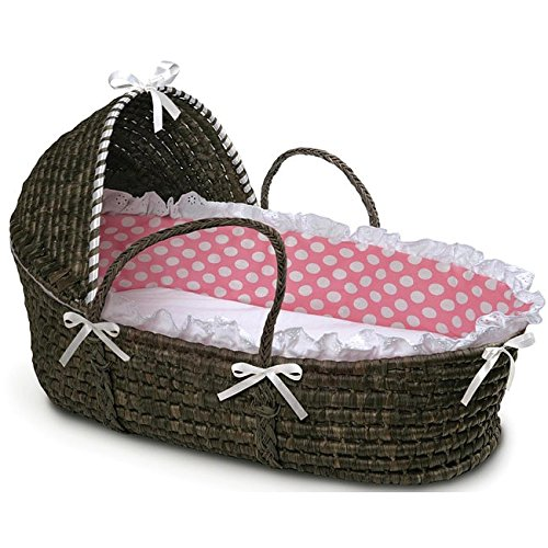 Badger Basket Moses Basket with Polka Dot Hood and Bedding, Espresso/Pink by Badger Basket