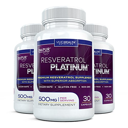Resveratrol Platinum – Premium, High Potency Resveratrol Supplement. Most Effective Formulation Available. Look Younger Feel Better! 500mg – 30 Capsules