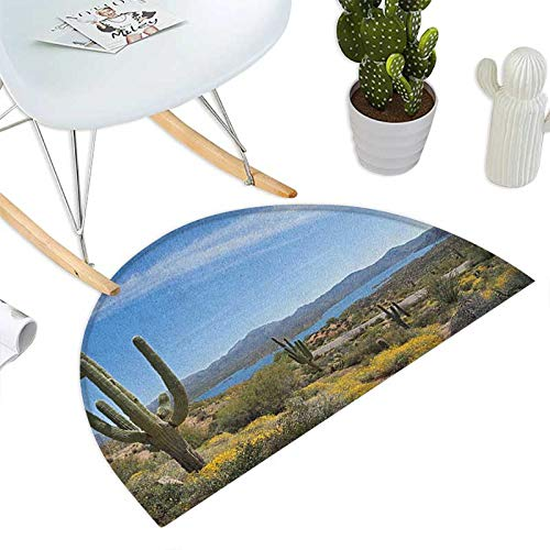 Saguaro Half Round Door mats Big Cactus on The Valley Over Bartlett Lake in Desert Shallow Root Nature Image Bathroom Mat H 39.3'' xD 59'' Blue Green