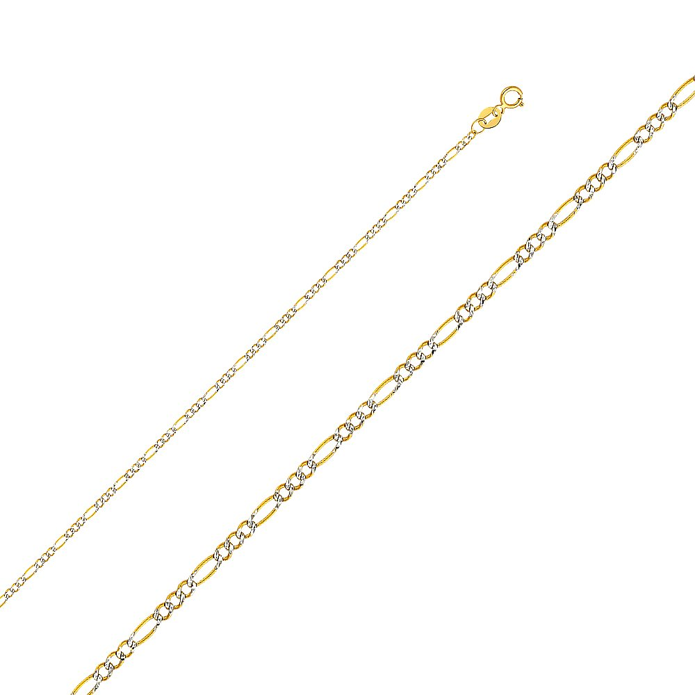 Precious Stars 14k Two-tone Gold 1.8-mm White Pave Figaro Chain Necklace