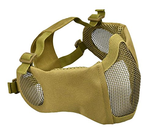 Jadedragon Adjustable Foldable Half Face Lower Mask Airsoft Mesh Mask with Ear Protection for Airsoft/Hunting/Paintball (Tan) ()