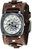 Nemesis #BFRB931S Men's Web of Skulls Wide Brown Leather Cuff Band Watch