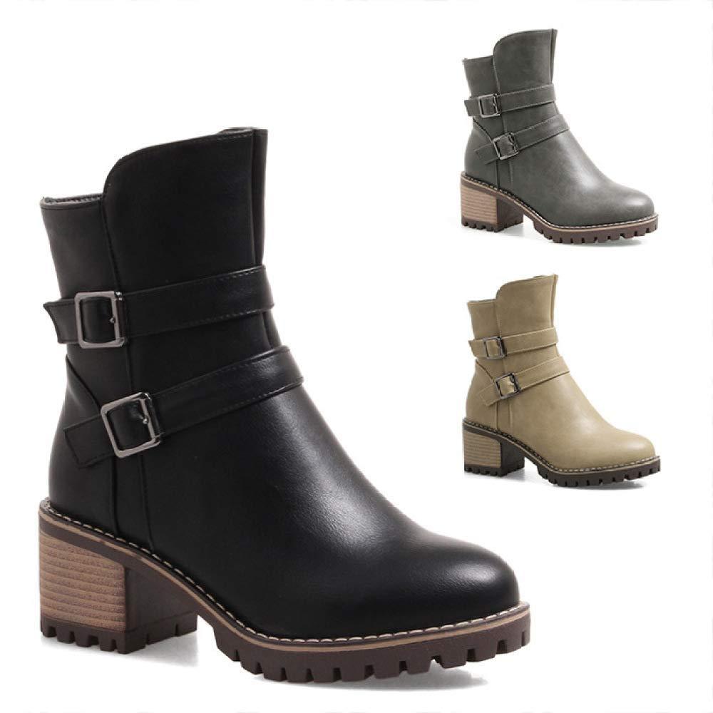 Fuxitoggo Bottes pour Femmes - Bottes pour Femmes Western High-End Bottes Chaudes à Talons Chaussures pour Femmes Grandes Tailles 34-43 (Couleuré   Noir, Taille   33)