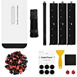 Cable Management Kit for Office/Home space, MyDeskLife, Full Set with 16'' Cable Box, 4pcs 19'' Sleeves, 100pcs Adhesive Cord Clips, 50pcs 7'' Cable Ties & A set of 3M TPU CableThere