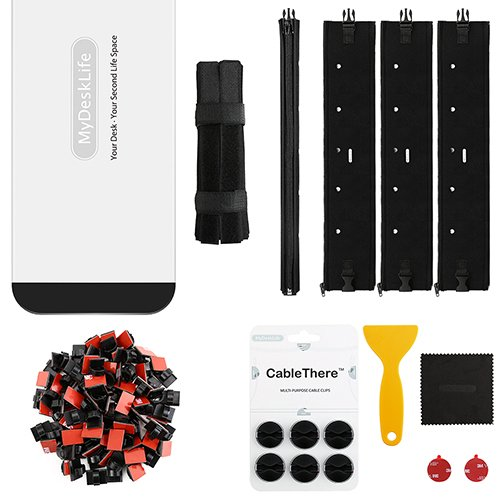 Cable Management Kit for Office/Home Space, MyDeskLife, Full Set with 16