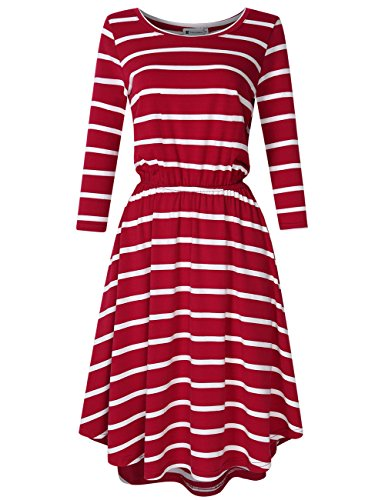Women Casual A-line Dresses Striped 3/4 Sleeves Midi Dress Wine Red S 3/4 Sleeve Cotton Hat