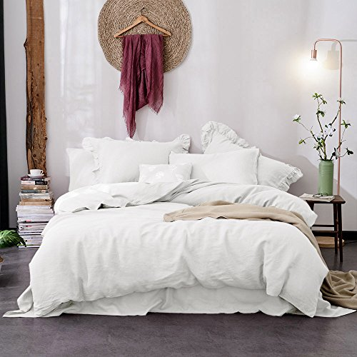 Merryfeel 100% Linen Duvet Cover Set - King White