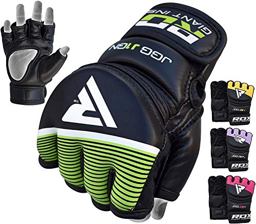 (RDX Kids MMA Gloves Grappling Martial Arts Sparring Punching Bag Junior Cage Fighting Youth Maya Hide Leather Mitts Children Combat Training)