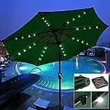 9' Outdoor Patio Solar Power LED Aluminium Umbrella Sunshade UV Blocking Tilt & Crank Green #904