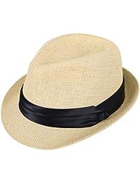 2b693a3643f Kids Fedora Straw Sun Beach Fedora Hat-Short Brim with PU Leather Band  Accent