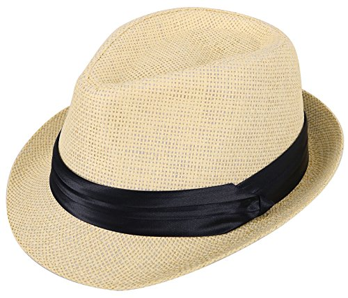 Kids Fedora Hats Boys Straw Sun Hats for Kids with Black Band Accent Beige -