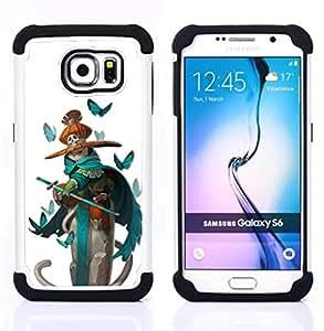 For Samsung Galaxy S6 G9200 - pirate teal sword kids butterfly white Dual Layer caso de Shell HUELGA Impacto pata de cabra con im????genes gr????ficas Steam - Funny Shop -