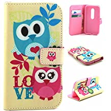 Moto G (3rd Gen) Case,Moto G3 Case,[Wallet Feature],YiLin [Kickstand][Card Slot][Flip][Slim Fit] Premium Protective Case for Motorola Moto G (3rd Gen) [LOVE Owl]