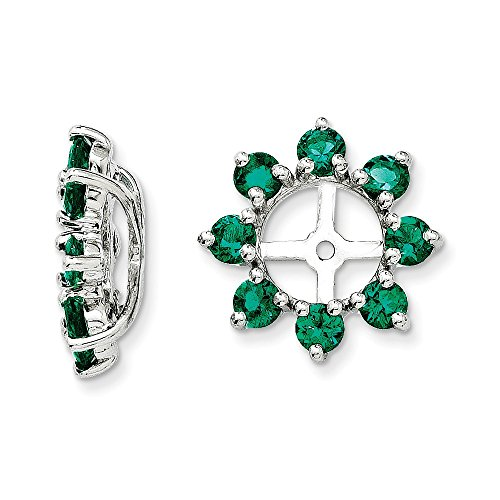 Sterling Silver Rhodium Created Emerald Earring Jacket by Jewels By Lux