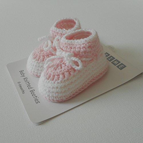 Paar Hausschuhe/Booties rosa/weiß Strick Bebe Mädchen Geburt