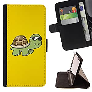 Cool Sunglasses Turtle - Painting Art Smile Face Style Design PU Leather Flip Stand Case Cover FOR Samsung Galaxy S6 EDGE @ The Smurfs