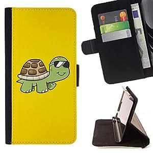 - Cool Sunglasses Turtle - - Prima caja de la PU billetera de cuero con ranuras para tarjetas, efectivo desmontable correa para l Funny HouseFOR LG G3