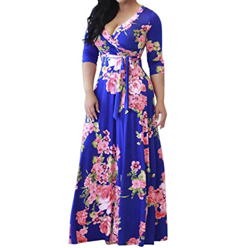 Han Shi Long Maxi Dress, Women Fashion Wrap Tie Front Floral Boho Party Sundress Gown (M=(US S), ()