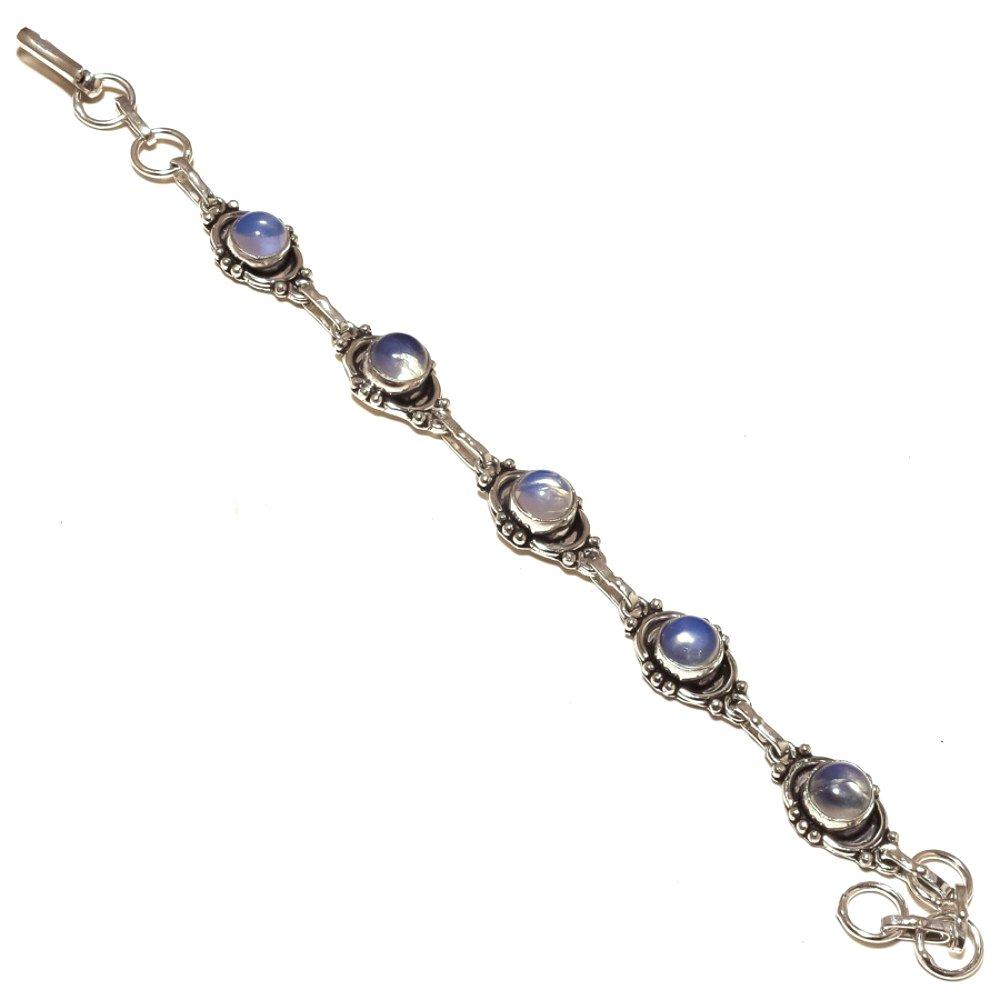White Opalite Sterling Silver Overlay 14 Grams Bracelet 7-9 Long Designer Handmade Jewelry