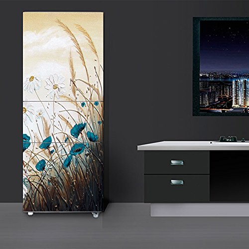 yazi Customized Door Fridge Sticker Closet Cover Blue Flower Self Adhesive Wall Decal Hallway Mural 23x59 Inch (Refrigerator Door Cover)