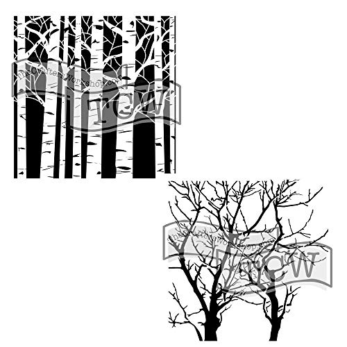 - Crafter's Workshop Stencil 2 Pack, Reusable Stenciling Templates for Art Journaling, Mixed Media, and Scrapbooking (Aspen Trees/Reversed Branches, 6 X 6 (2pack))