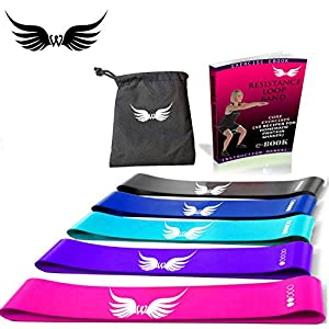 wings Resistance Loop Bands for Exercise Set of 5 with Carry Bag Ebook Equipment Home Gym Accessoriess Heavy Medium Light Workout Legs Hip Butt Women Men