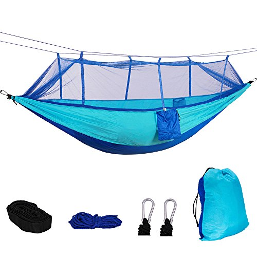 Portable Camping Hammock with Bug Net by Mounteen: Professional Grade Ripstop Nylon Foldable Tree Hammock Tent, with Capacity 400lbs, Perfect for Backyard, Hiking, Backpacking (Navy Blue+Sky Blue) (Material Ripstop Nylon)