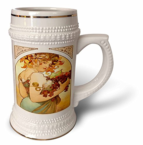 3dRose Florene Art Deco and Nouveau - Painting By Alphonse Mucha Fruit - 22oz Stein Mug (stn_61840_1)