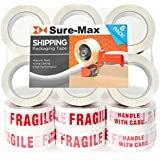 """Sure-Max 18 Rolls""""Fragile - Handle with Care"""" Printed Warning Tape (2"""" x 110 yard/330' each) for Packing & Shipping Glass - White & Red"""