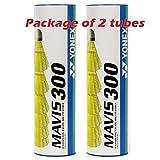 Yonex Mavis 300 Yellow Nylon Shuttlecocks 1/2doz (Pkg of 2 tubes(12pcs)-Yellow Medium Speed)