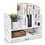 Flexzion Freestanding Desktop Book Shelf Bookcase - Display Stand Natural Style Caddy Desk Organizer Office Storage Openwork Tabletop Accessory Sorter Rack Stand-Alone Decor (2 Tier, White)