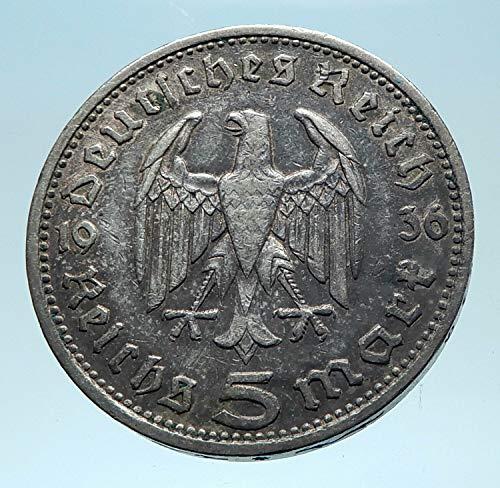 - 1935 DE 1935 Germany 2nd President Paul von Hindenburg AR coin Good Uncertified