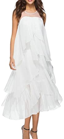 2ca3ad6432089 Pivaconis Womens Sexy Boho Mesh Irregular Ruffled Swing Pleated Dress White  XS