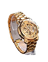 Ouku®Cheap High Quality Men's Auto-Mechanical Hollow Engraving Gold Alloy Band Wrist Watch Dress Watches Business