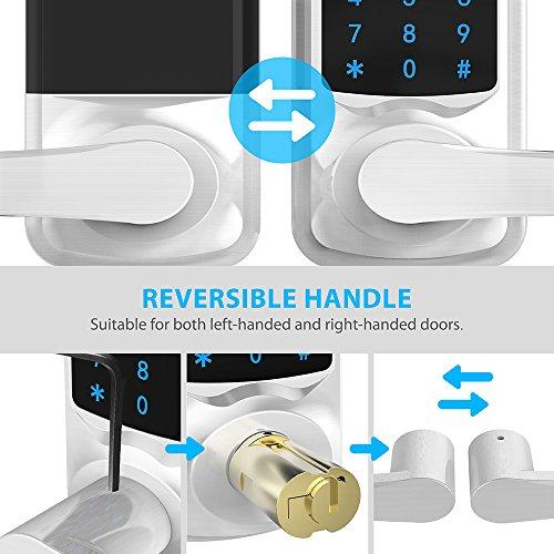 Signstek Digital Electronic Touchscreen Keypad Security Entry Door Lock Interchangeable for Left and Right Door Handle with Hidden Mechanical Key (Silver)