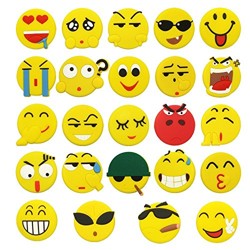 Meetory 24 Pack Fridge Blackboard Magnets,Novelty Smiley Face Magnetic Button,45 mm
