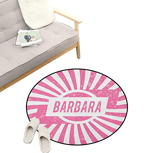 - Barbara Round Area Rug Super Soft Anti-Slip ,Radial Background with Name in Rectangle in The Middle Grunge Illustration, Children Girls Room Decorato 39