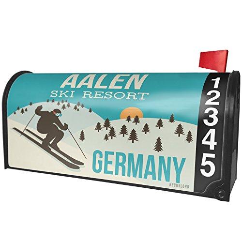 NEONBLOND Aalen Ski Resort - Germany Ski Resort Magnetic Mailbox Cover Custom Numbers