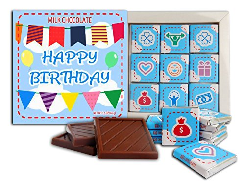 Birthday Happy Set Gift (Happy Birthday Milk Chocolate gift set ♛ DA CHOCOLATE 5x5 box 9 pieces of chocolate 2 ounce (Blue Prime))