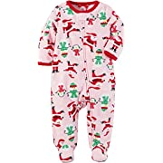 Carter's Baby Girls' Santa Print Fleece Zip Up Sleep And Play, Pink Christmas, 3 Months