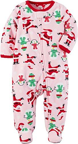 Baby Santa Print Fleece Zip Up PJs