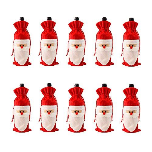 D-Foxes 10PC Santa Claus Christmas Drawstring Red Wine Bo...