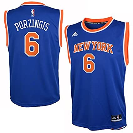 2091fc3042d adidas Kristaps Porzingis New York Knicks Youth Blue Jersey Medium 10-12
