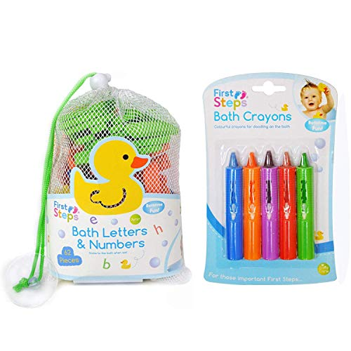 Bathtime Buddies alphabet foam letters set wet stick and play includes 65 letters and handy net storage bag