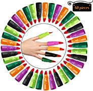 Skylety 60 Pieces Colorful Witch Fingers Martian Witch Fingers Costume Accessory Fake Vampire Finger Monster F