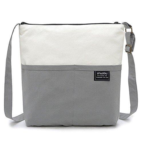 Shubiao Bolso Simple de la Lona del Bolso de Hombro de la Manera Simple Bolso Ocasional Simple (Color : Brown) Gray