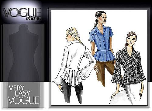 OOP Vogue Pattern V8362 or 8362. Misses Szs 8,10,12,14 Semi-fit Blouse with Tapered Peplum